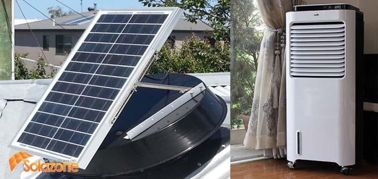 Quạt điều hòa điện máy xanh và quạt năng lượng mặt trời Solazone
