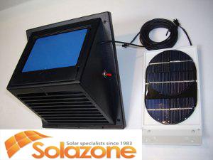 Máy thông gió đặt ở ngoài phòng cùng với tấm năng lượng mặt trời